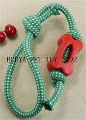 Durable dog squeaky Toy Rope and TPR material 2292