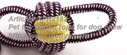 Cotton rope ring with ball pet toy 2182